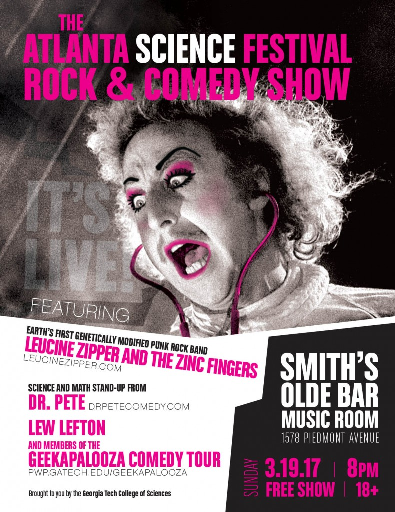 Leucine Zipper and the Zinc Fingers, Dr. Pete, Lew Lefton, Geekapalooza Comedy Tour, Sunday March 19, 2017, 8pm, Smith's Olde Bar, FREE!!